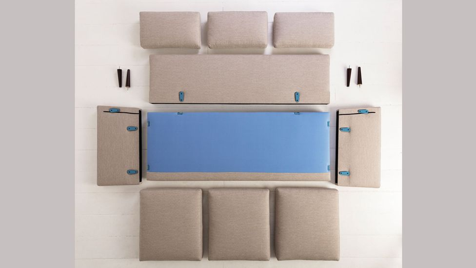 Self-assembly has become simpler – pictured is the Swyft three-seater sofa before assembly