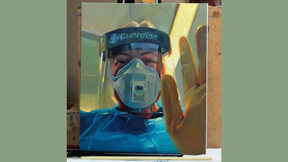 Tom Croft painted a portrait of A&E nurse Harriet Durkin for free after posting on social media (Credit: Tom Croft)