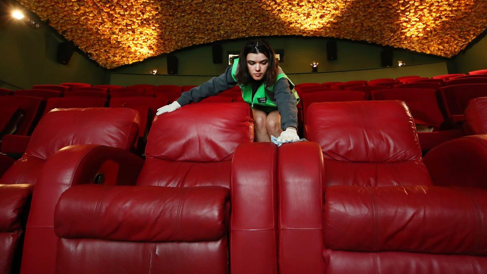 A cinema is cleaned and prepared for guests in Auckland, New Zealand; as people return to social spaces, they want to feel safe and secure (Credit: Getty Images)