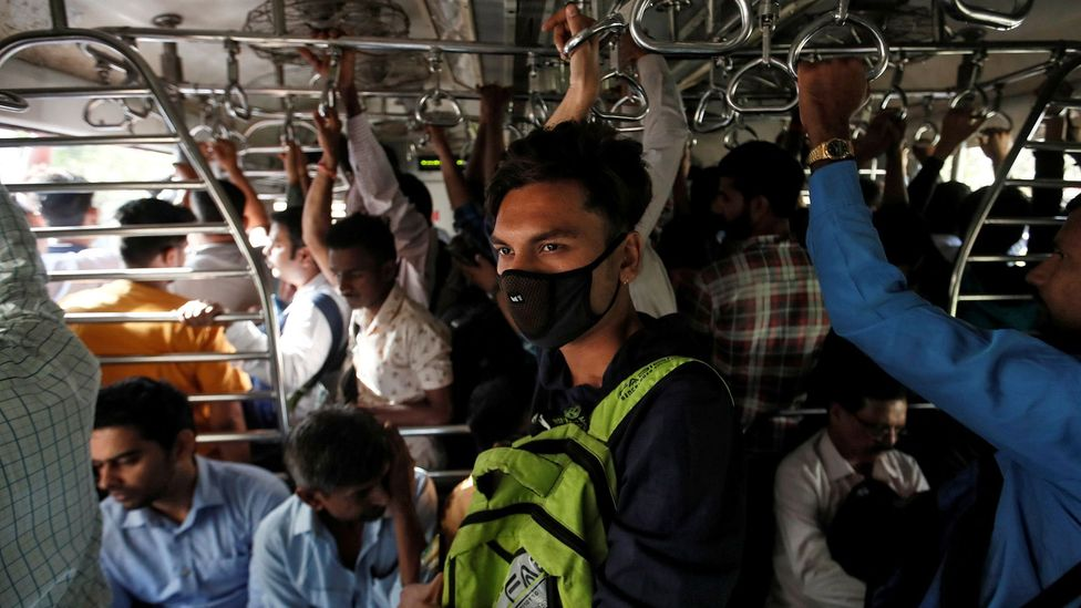 Public transport remains essential in India, and maintaining social distancing is a challenge (Credit: Reuters/Francis Mascarenhas)