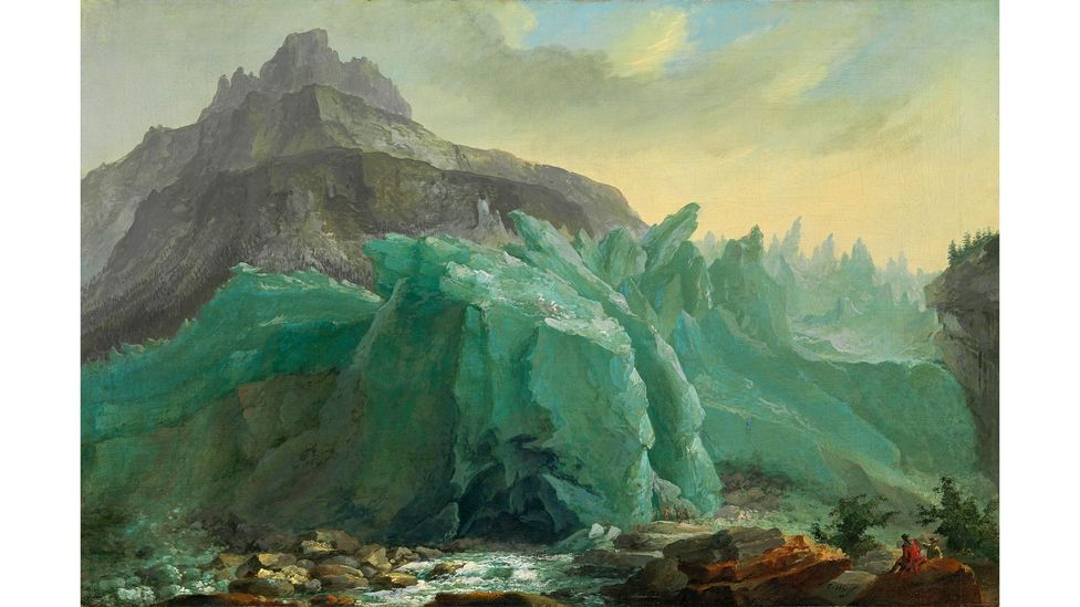 Paintings such as this one from 1774 allowed researchers to understand how the Lower Grindelwald Glacier behaved before photography was invented (Credit: Alamy)