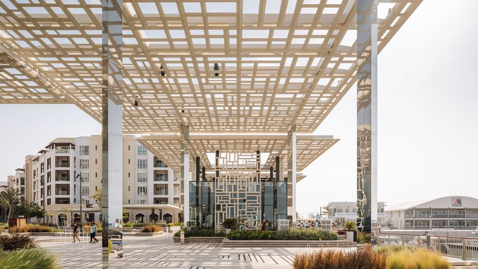 The Marsa Plaza was designed by London-based architects Acme, and features latticework and stone canopies (Credit: Francisco Noguera)