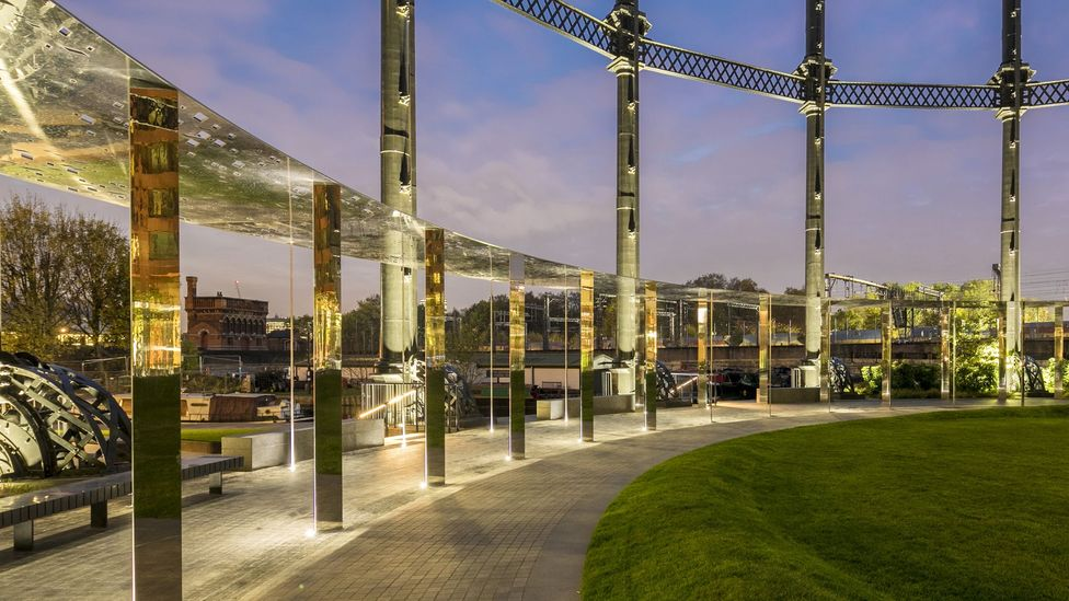 Gasholder Park blends 19th-Century industrial architecture with a new pavilion by Bell Phillips Architects (Credit: John Sturrock)