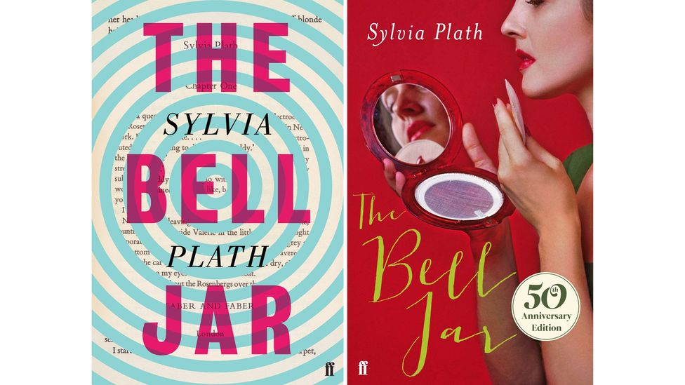 Faber's cover for a 2013 edition of Sylvia Plath's The Bell Jar (right) drew criticism for packaging the 1963 novel as 'chick lit' (Credit: Jon Gray; Faber & Faber)