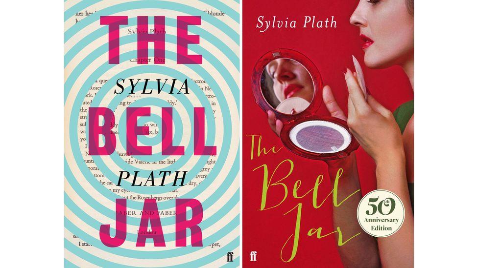 Faber'in Sylvia Plath'ın The Bell Jar (sağda) 2013 baskısı için yaptığı kapak, 1963 romanını 'civciv yaktı' olarak paketlediği için eleştirilere yol açtı (Kaynak: Jon Gray; Faber & Faber)