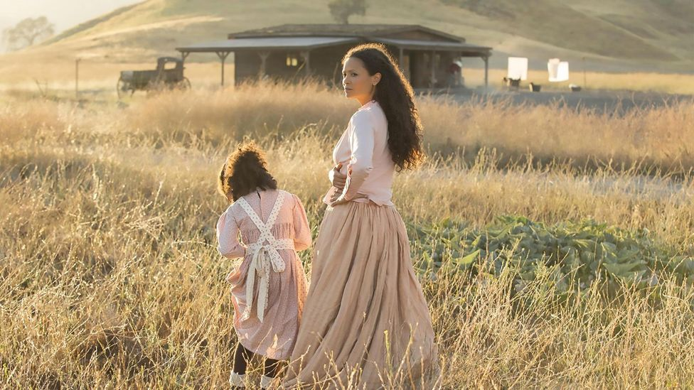 In the TV series Westworld, actor Thandie Newton wears costumes that reflect authentic prairie style (Credit: Alamy)
