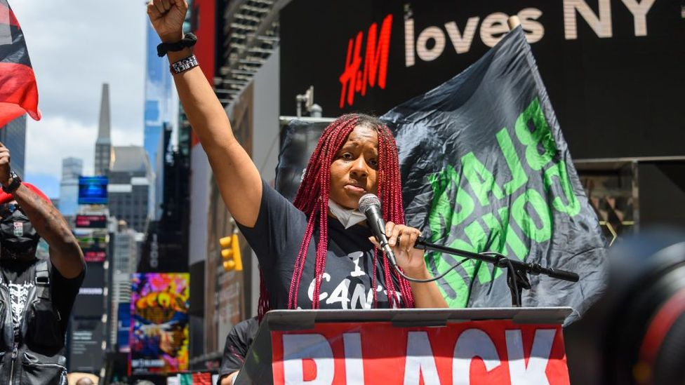 Nupol Kiazolu speaks at a Black Lives Matter rally in Times Square on June 7 in New York City (Credit: Getty Images)