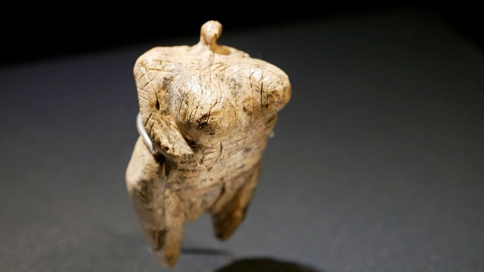 The Venus of Hohle Fels is made of mammoth ivory and is the earliest known example of a depiction of a human being in prehistoric art (Credit: Alamy)