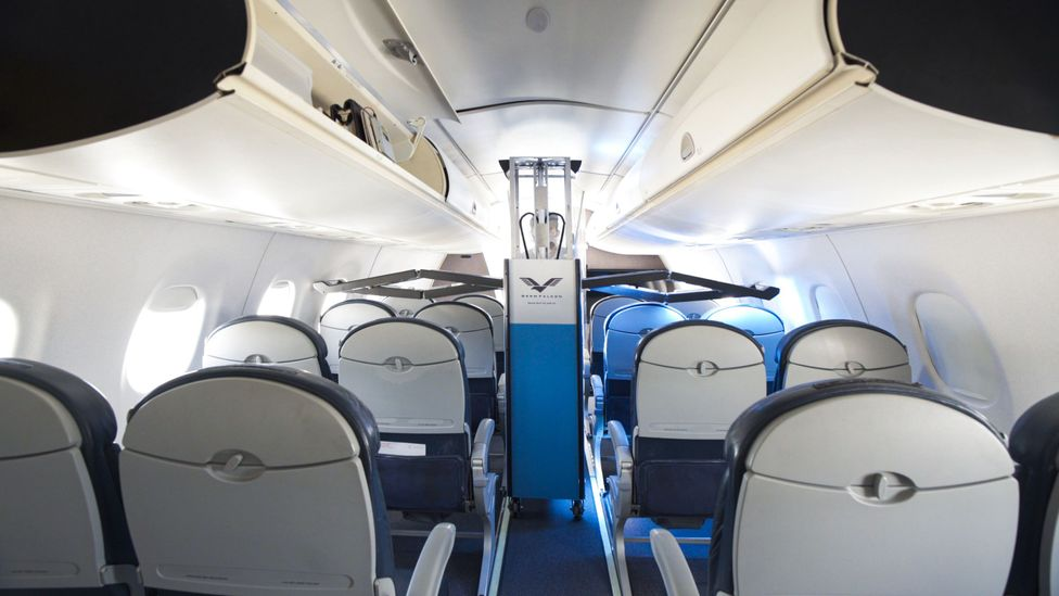 GermFalcon shines UVC light onto aeroplane tables and seat cushions to kill germs (Credit: GermFalcon)