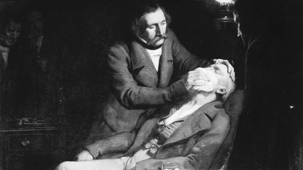 In 1846, a compound synthesised from a potent mixture of sulphuric acid and alcohol was used to put a patient to sleep before removing a tooth (Credit: Getty Images)