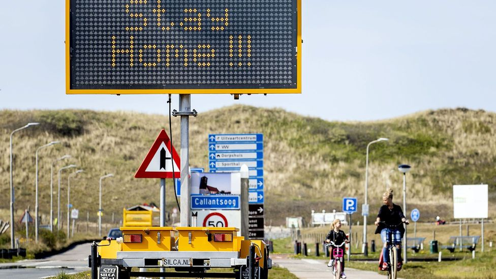 A traffic sign in North Holland urging Dutch residents to stay home in April. Throughout Covid-19, the country has been proactive with stay-at-home measures (Credit: Getty Images)