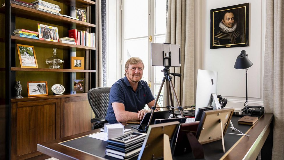 Dutch King Willem-Alexander working from home in a posed photo at The Hague in April. Many Dutch have been working from home, even pre-pandemic (Credit: Getty Images)