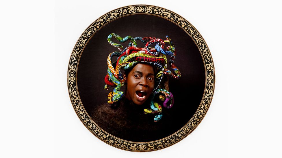 Yinka Shonibare uses textiles in a subversive way, as with his pastiche of Caravaggio's 1597 painting of Medusa (Credit: Yinka Shonibare, courtesy James Cohan)