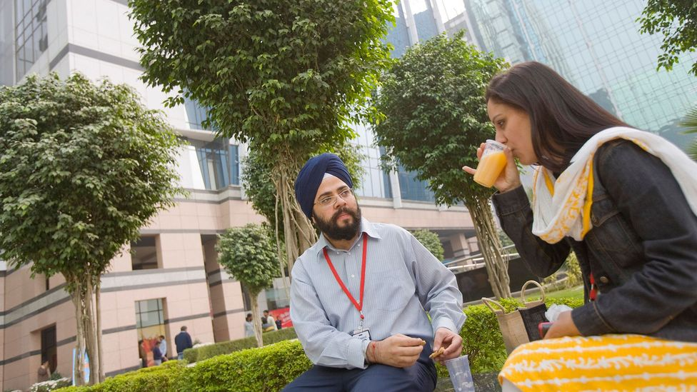 Drinking chai with colleagues can be an opportunity to discuss work issues you can't talk about in the office (credit: Alamy)