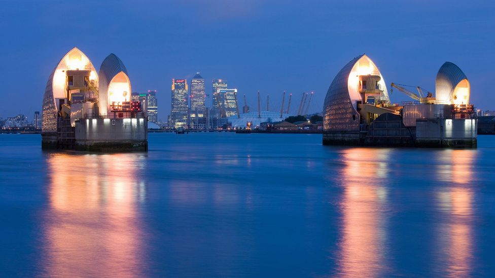 The Thames Barrier helps to protect London from flooding as caused by the ever increasing tidal range in the Thames Estuary (Credit: Alamy)