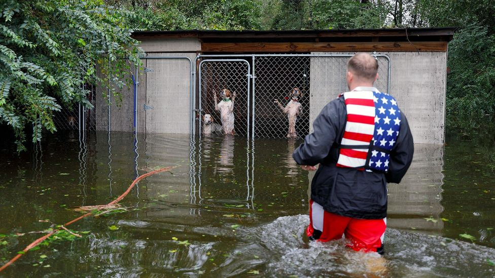 When Hurricane Florence hit North Carolina in 2018, a storm surge combined with tides to lead to devastating flooding (Credit: Reuters)