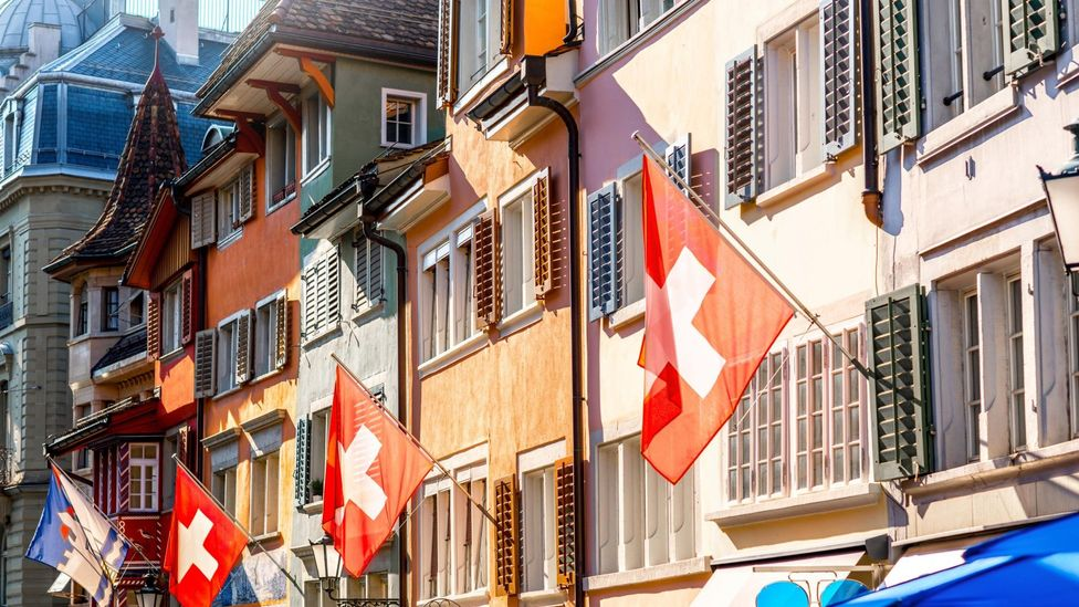 File image of Swiss flags pictured in Zurich