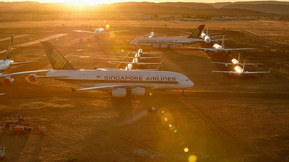Some of Singapore Airlines' aircraft now sit at Alice Springs Airport in Australia to prevent corrosion (Credit: Getty Images)