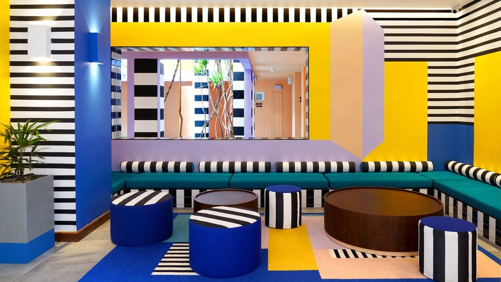 Camille Walala creates geometric interiors, such as this one at the Salt of Palmar hotel, Mauritius (Credit: Tekla Evelina Severin)