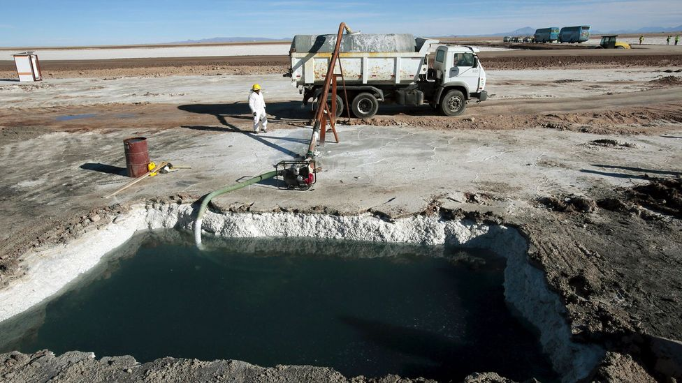 Much of the world's lithium is mined from the huge salt flats in South America but the process uses huge amounts of water (Credit: Reuters)