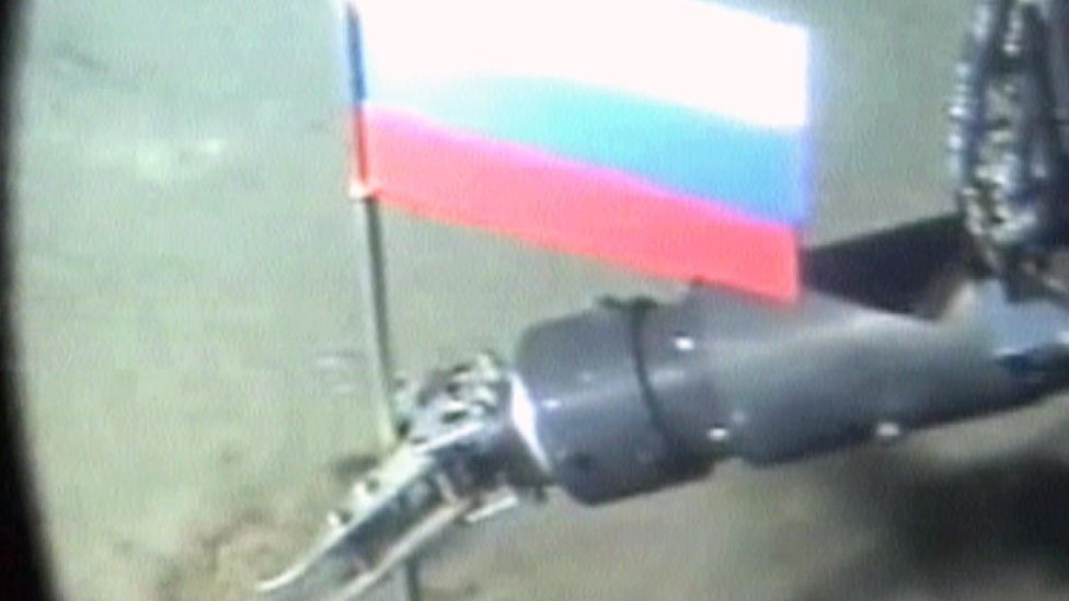 In 2007, Russia used a submarine to plant a flag to publicisie its claims to the Arctic region (Credit: Getty Images)