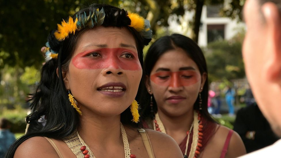 Waorani President Nemonte Nenquimo speaks during a demonstration against oil companies entering ancestral Amazonian lands in Quito, Ecuador in 2019 (Credit: Getty Images)