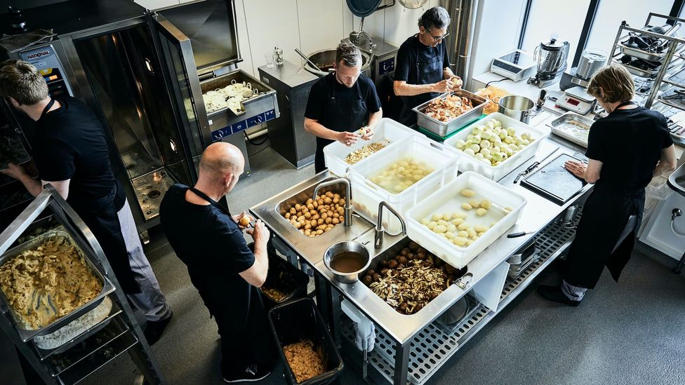 Food preparation in the JunkFood kitchen