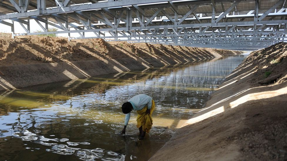 The solar canals are suspended on a metal structure over the canal, with benefits for both water conservation below and cooling of the panels above (Credit: Getty Images)