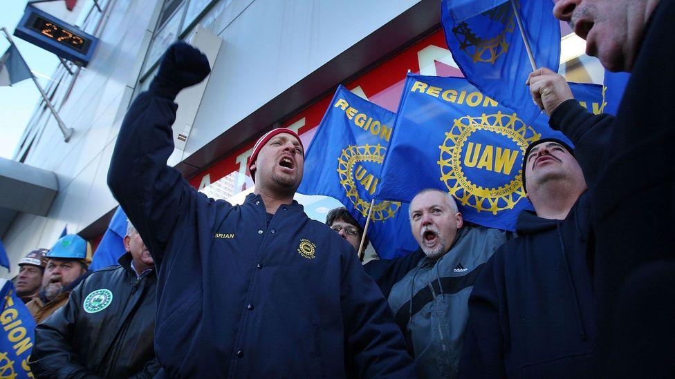 Unions representing workers in the US car manufacturing industry appealed for a huge multi-billion-dollar bailout in 2008 (Credit: Getty Images)