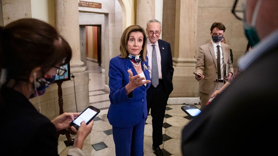 Speaker of the House Nancy Pelosi says the US relief bill will cost a total of over $1.3bn (£1bn) (Credit: Getty Images)