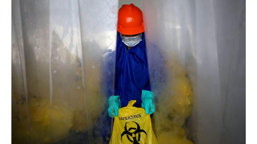 Only 15% of medical waste is classed as hazardous - but the rest is little more dangerous than household waste (Credit: Reuters)