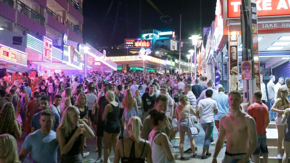 File image of young tourists in Magaluf's main strip