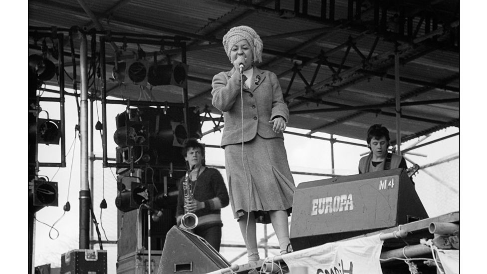 Poly Styrene, frontwoman of band X-Ray Spex, performed at the event, which attracted a crowd of 100,000 (Credit: Getty Images)