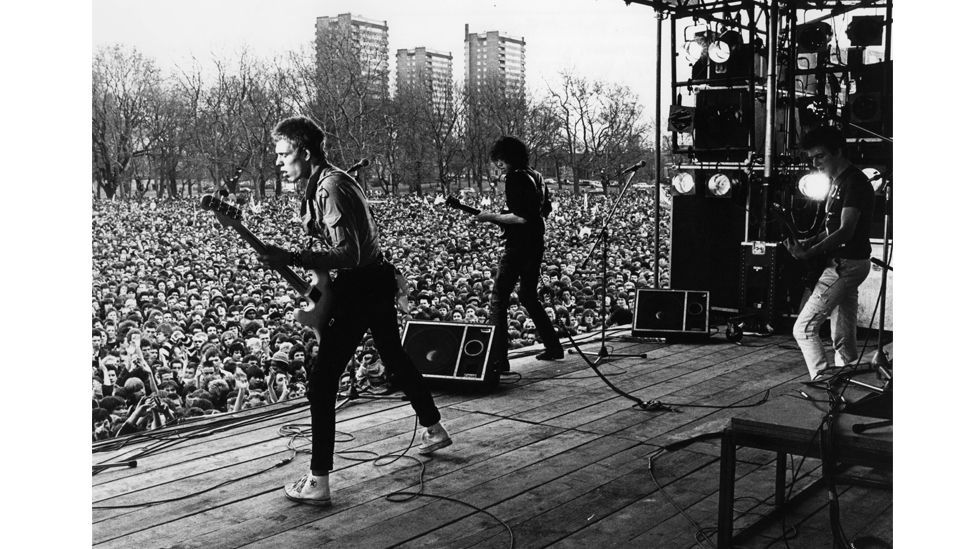 In 1978 The Clash played at the ground-breaking Rock Against Racism event in east London (Credit: Getty Images)