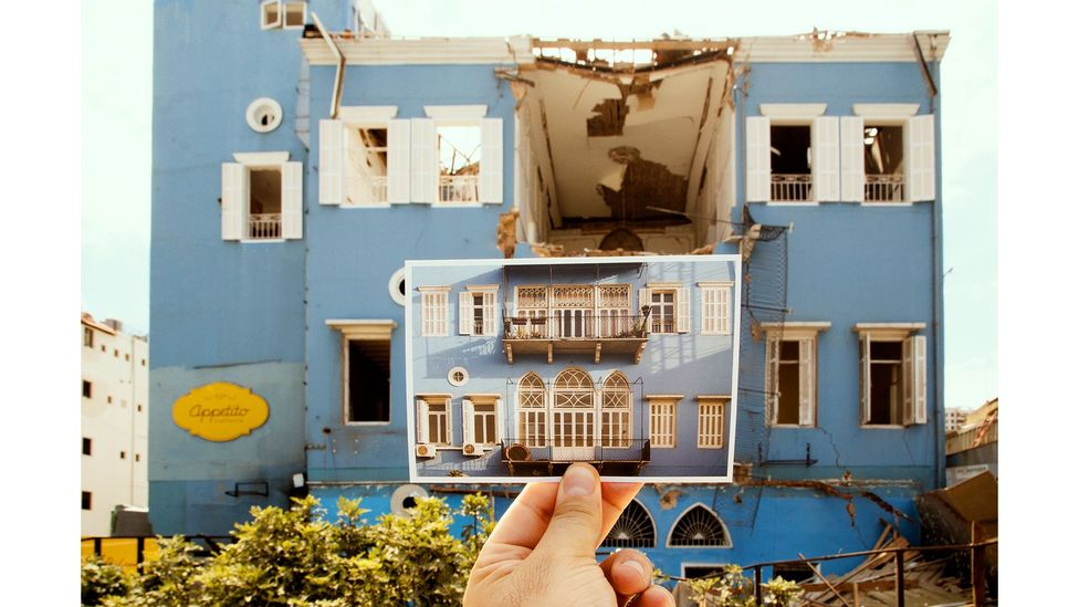 After the explosion, they tracked down 25 of the buildings, and left behind a postcard from their series (Credit: Joseph M Khoury)