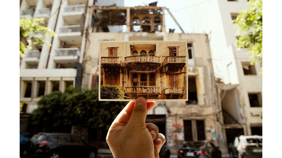 Their photographs capture the faded glamour of Beirut's buildings that bear the marks of time, from crooked shutters to broken windows (Credit: Joseph M Khoury)