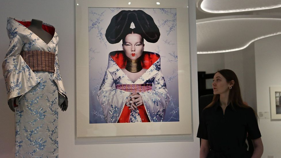 The Alexander McQueen outfit that Björk wore on the cover of Homogenic is currently on display in a show about the kimono at London's Victoria and Albert Museum (Credit: Alamy)