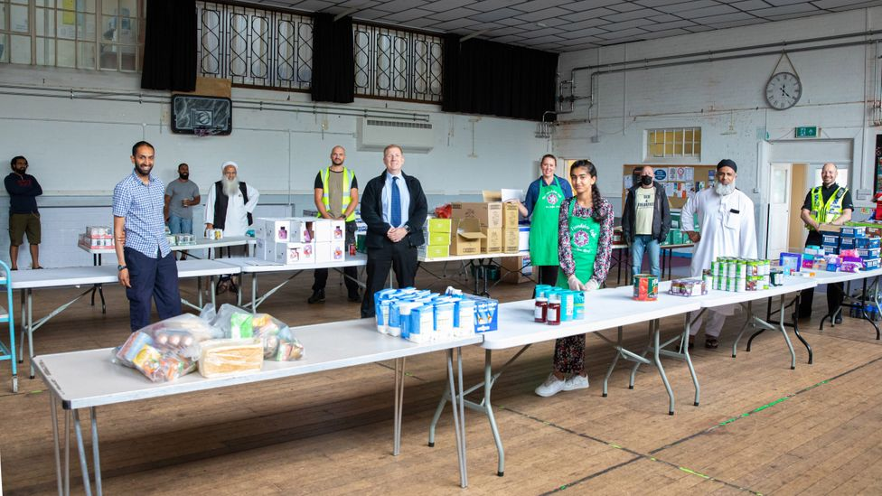 In Gloucester, members of the Fair Shares time bank made food parcels for those hardest-hit by the crisis (Credit: Reyaz Limalia)