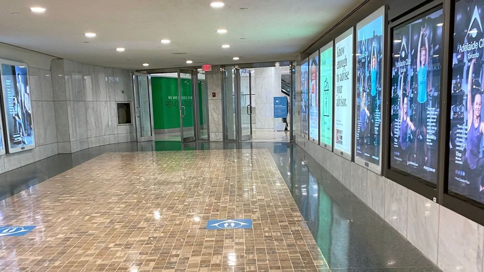 Even though lockdown restrictions have relaxed, the PATH halls are nearly empty as there are no Bay Street workers to do their errands or grab lunch (Credit: Hilary George-Parkin)