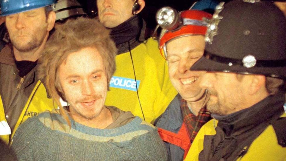 Swampy, an environmental campaigner, became a media darling in the British press, who dubbed him the 'human mole' because of his tunneling protest (Credit: PA)