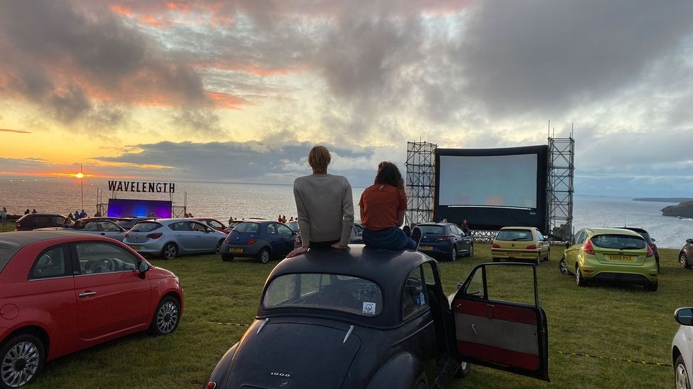 Cornish surf magazine Wavelength launched a season of drive-in films overlooking Watergate Bay; it included live performances from local choir The Fisherman's Friends