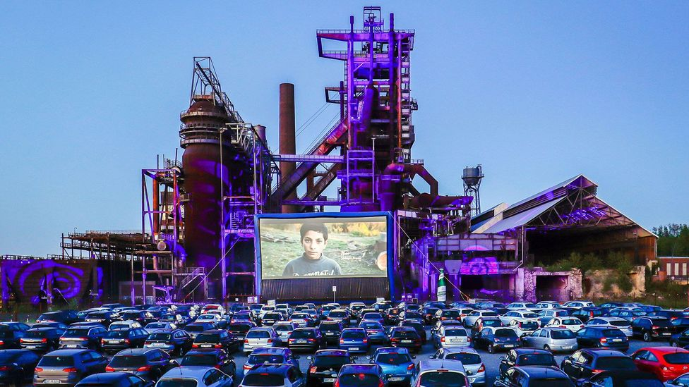 In 2020, drive-in cinemas have been opened across Germany, including one in front of the former Phoenix-West blast furnace plant in Dortmund-Horde, Germany