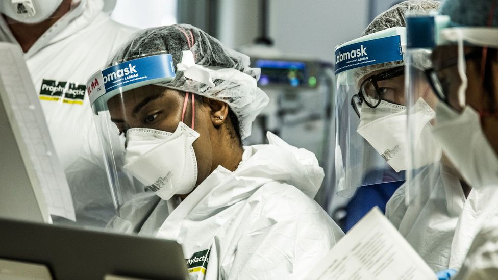 Masks like the N95, FFP2 and FFP3 offer a high level of protection but are prioritised for frontline health workers in some countries (Credit: Matthew Jones/PA)