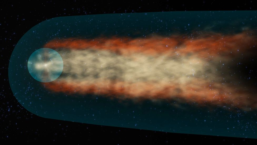 The Sun's heliosphere forms a long tail as it pushes its way through the interstellar medium on its journey around the galaxy (Credit: Nasa)
