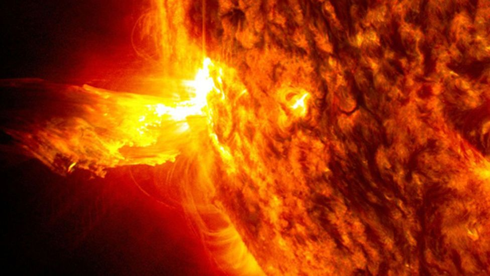The Sun produces a constant barrage of high energy particles known as the solar wind, which can rise and fall with the activity of our star (Credit: Nasa)