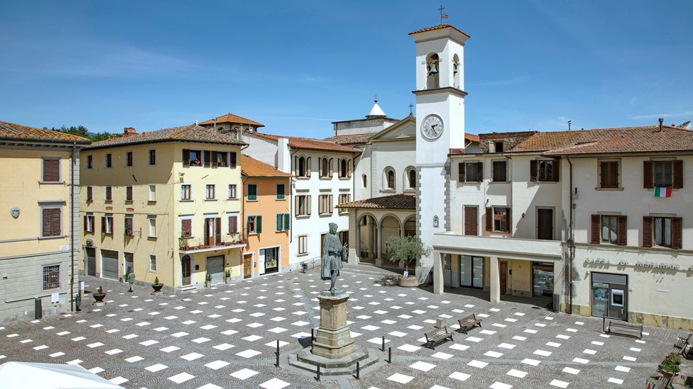 The cobblestones of Piazza Giotto in Tuscany have been marked to create a social distancing grid (Credit: Francesco Noferini, Caret Studio)