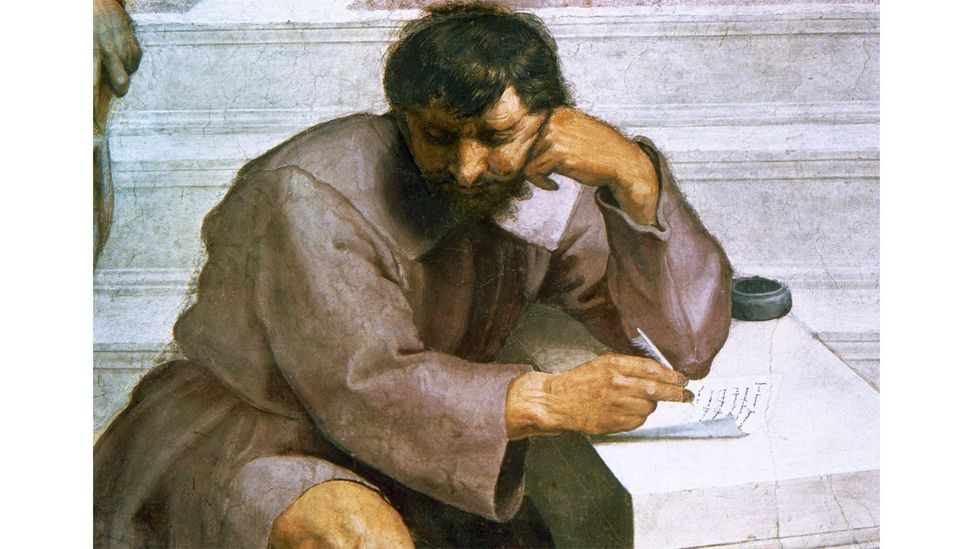 The writer in the painting is believed to be Michelangelo, but could equally be the Greek philosopher Heraclitus (Credit: Alamy)