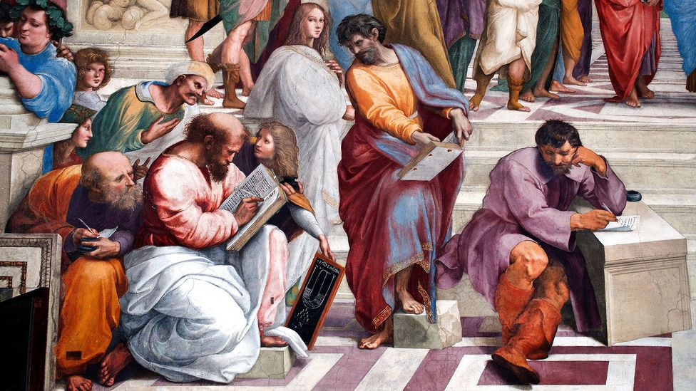 Many of the figures Raphael painted in the School of Athens could represent two different characters – was this ambiguity deliberate? (Credit: Alamy)