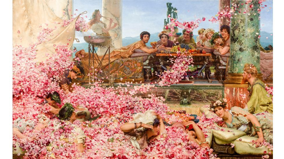 The Roses of Heliogabalus (1888) by Lawrence Alma-Tadema depicts guests drowning in a shower of rose petals at a decadent Roman feast (Credit: Alamy)