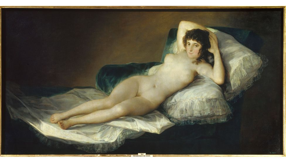 Goya's Naked Maja (above), Courbet's The Origin of the World and Klimt's explicit drawings are works that some historians and activists think 'blur lines' (Credit: Getty Images)